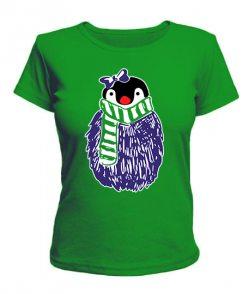 Женская футболка Пингвин Новый Год