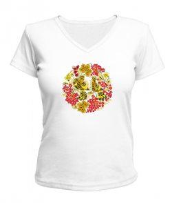 Женская футболка с V-образным вырезом Петриківський розпис
