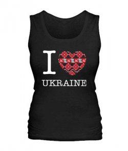 Женская майка I love Ukraine-Вышиванка