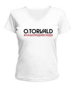 Женская футболка с V-образным вырезом O.Torvald №9