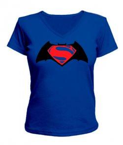 Женская футболка с V-образным вырезом Бетмен-супермен №2