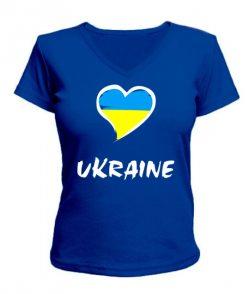 Женская футболка с V-образным вырезом Сердце Ukraine