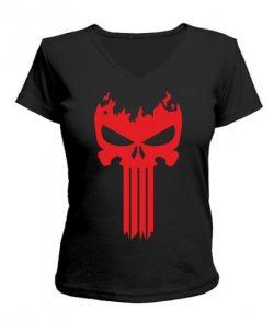 Женская футболка с V-образным вырезом Череп Вариант №2