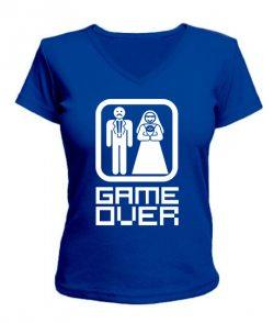 Женская футболка с V-образным вырезом Игра закончена
