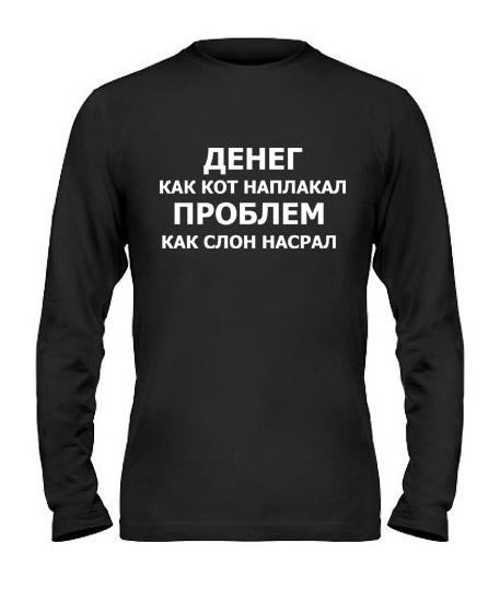 Мужской Лонгслив Денег кот наплакал