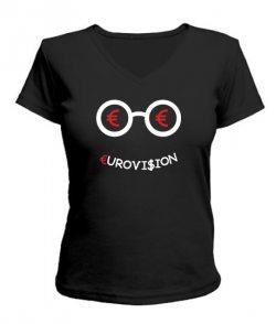 Женская футболка с V-образным вырезом Евро видение