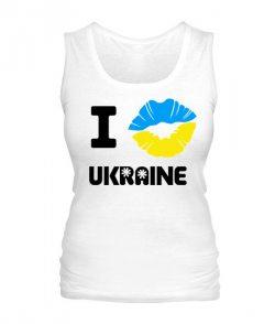 Женская майка I love Ukraine (губы)