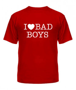 Мужская Футболка I love bad boys