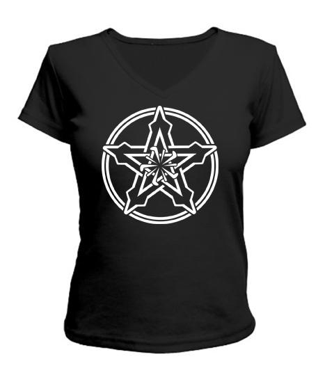 Женская футболка с V-образным вырезом Кельтский узор Вариант №5