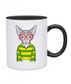 Чашка Кот-хипстер №8