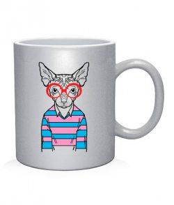 Чашка арт Кот-хипстер №8