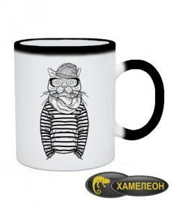 Чашка хамелеон Кот-хипстер