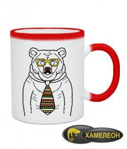 Чашка хамелеон Мишка-хипстер №2