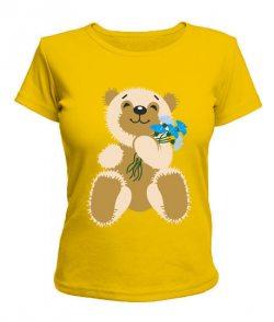 Женская футболка Мишка с васильками