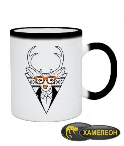 Чашка хамелеон Олень-хипстер №4
