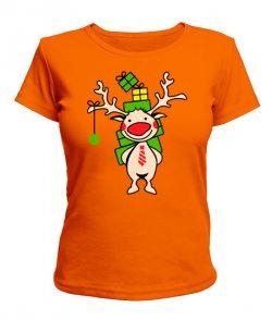 Женская футболка Олень с подарками