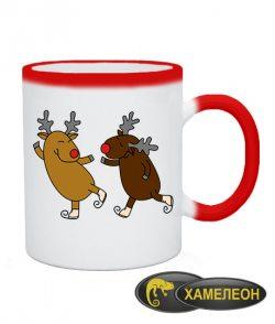 Чашка хамелеон Веселые оленята