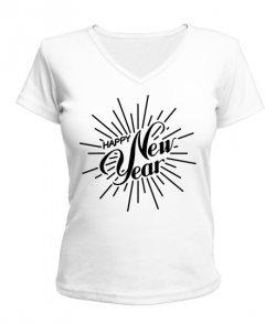 Женская футболка с V-образным вырезом счастливый Новый Год