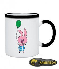Чашка хамелеон Пятачок новогодний