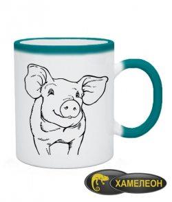 Чашка хамелеон свинка