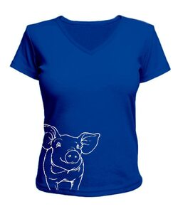 Женская футболка с V-образным вырезом свинка