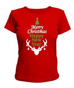 Женская футболка Новый Год, Рождество-олень