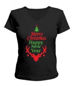Женская футболка с V-образным вырезом Новый Год, Рождество-олень