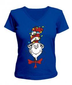 Женская футболка  с V-образным вырезом Кот в шляпе