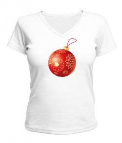 Женская футболка с V-образным вырезом Новогодняя игрушка