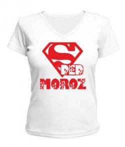 Женская футболка с V-образным вырезом Дед Мороз