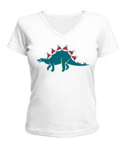 Женская футболка с V-образным Новогодний динозавр