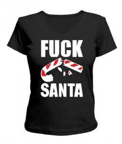 Женская футболка с V-образным вырезом Fuck Santa
