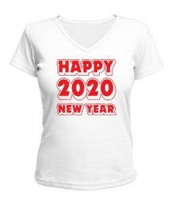 Женская футболка с V-образным вырезом HAPPY NEW YEAR