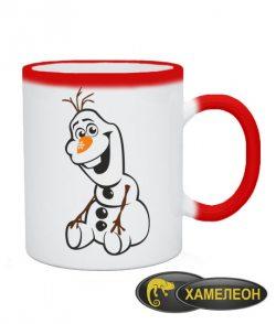 Чашка хамелеон Снеговик Олаф