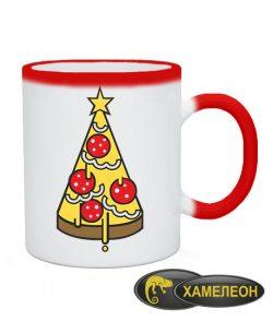 Чашка хамелеон Елка Пицца