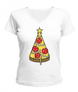 Женская футболка с V-образным вырезом Елка Пицца