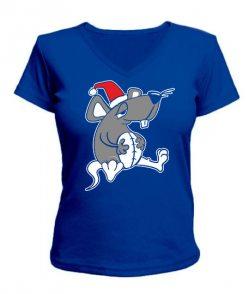 Женская футболка с V-образным вырезом Сытый крыс