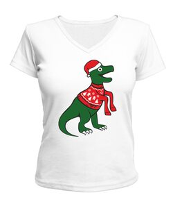Женская футболка с V-образным вырезом Т-Рекс Новый год
