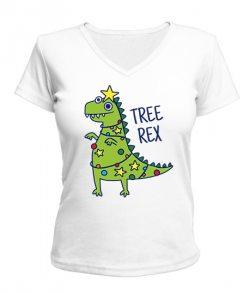 Женская футболка с V-образным вырезом Т-Рекс Елка