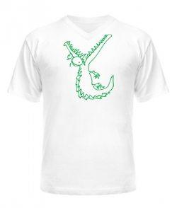 Мужская Футболка с V-образным вырезом Крокодил