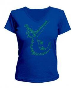 Женская футболка с V-образным вырезом Крокодил