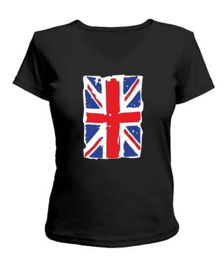 Женская футболка с V-образным вырезом Британский флаг2