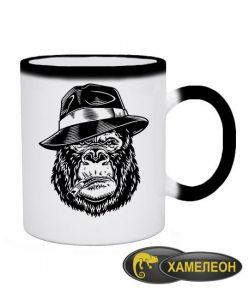 Чашка хамелеон Горилла в шляпе
