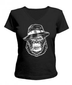 Женская футболка с V-образным вырезом Горилла в шляпе