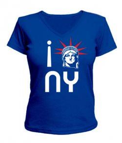 Женская футболка с V-образным вырезом Нью-Йорк 2 (NY)