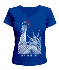 Женская футболка с V-образным вырезом Нью-Йорк (NY)