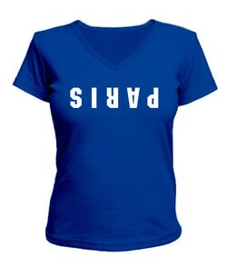 Женская футболка с V-образным вырезом Париж