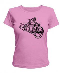 Женская футболка Скелет на мотоцикле