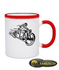 Чашка хамелеон Скелет на мотоцикле