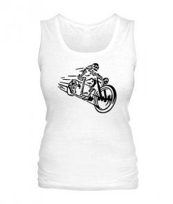 Женская майка Скелет на мотоцикле